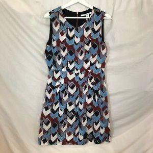 Diane Von Furstenberg Silk  Zip Back Dress SZ 10